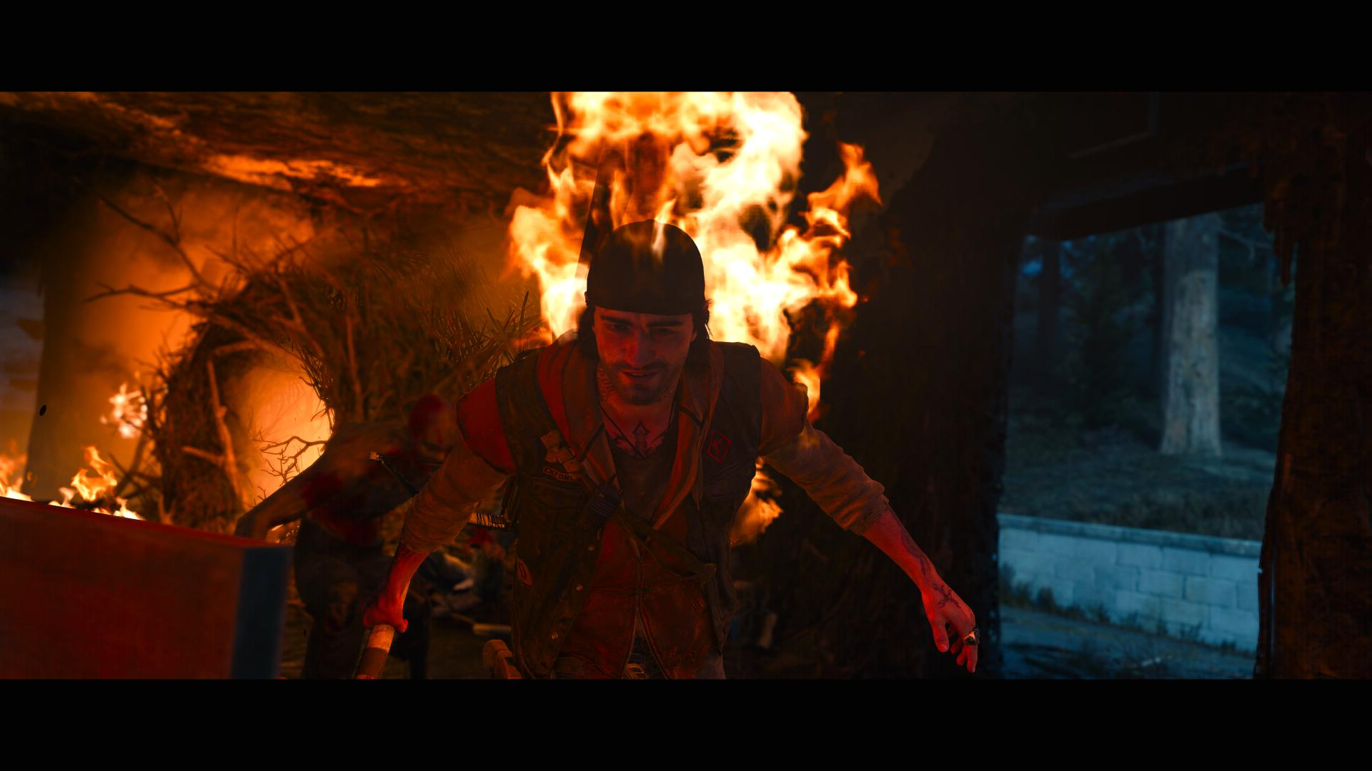 The lead character of Days Gone. On fire.