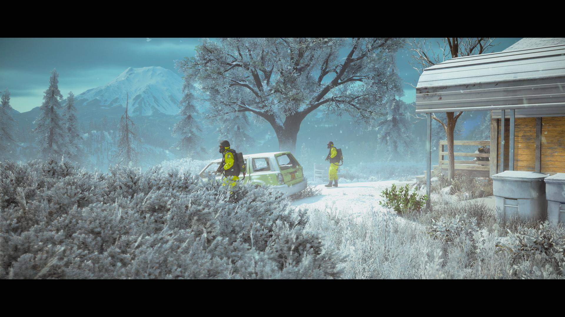 A snow covered ranch, two hazmat suit wearing officials hover around a car suspiciously.