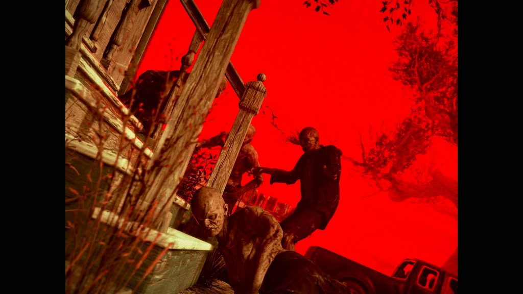 Zombies around the steps of a house set against a deep blood red sky, almost like a film poster but if one of the zombies needed a nap on the stairs and got caught mid nap.