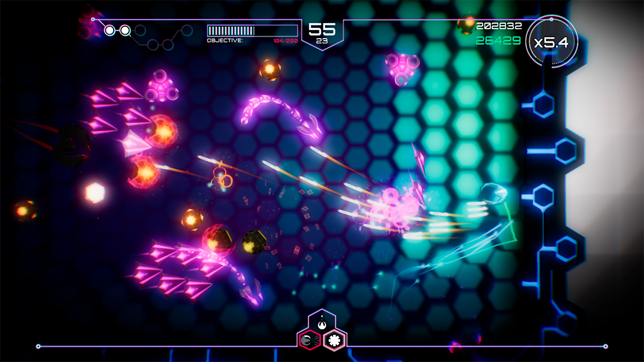 A screenshot from Tachyon Project. A bunch of purple enemies close in on the player, hovering over a glowing blue hex grid.