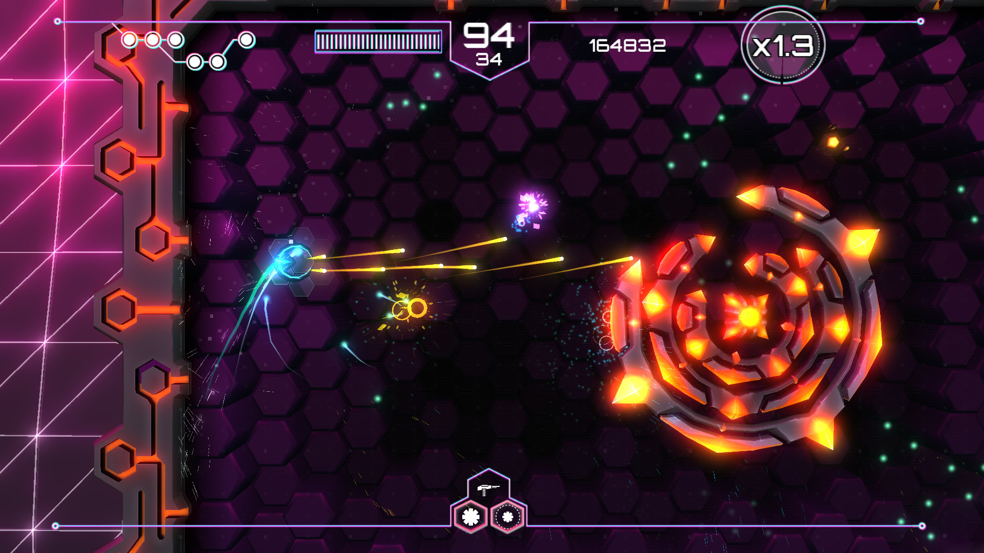A screenshot from the game Tachyon Project. The player fires at a giant, glowing, cylindrical enemy.