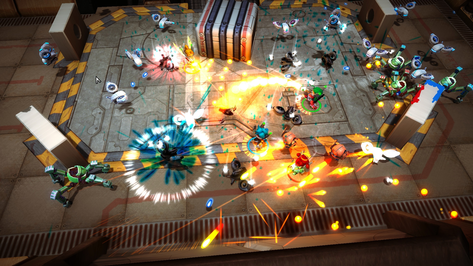 A screenshot from Assault Android Cactus. It is a busy factory-esque area with yellow and black safety stripes marking a square within it. Spider robots and glowing bullets, and explosions, abound.
