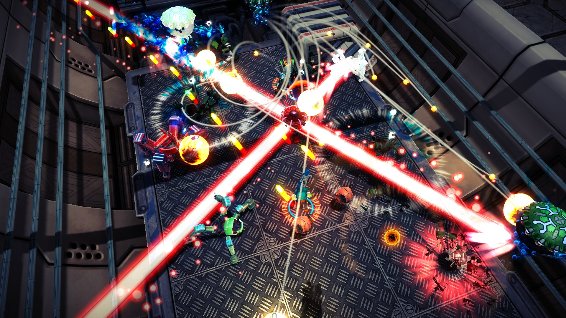 A screenshot from Assault Android Cactus showing its variation on an arena shooter stalwart environmental enemy - the 4 way laser beam. The player fights robots in-between the beams. Given how aggressively red and purest all engulfing white the beams are, probably best not to get hit by them because ouch.