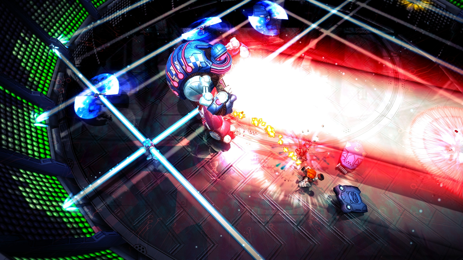 A screenshot from Assault Android Cactus. A robot viewed vaguely from above unleashes a frankly ridiculously large laser beam towards the player. It really is a big laser.