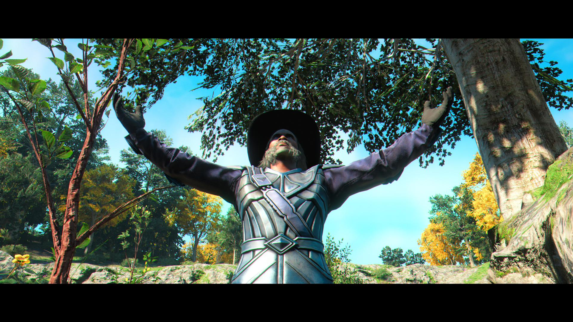 The player wearing a leather jacket and a fetching hat with their arms raised as though appealing to heaven.