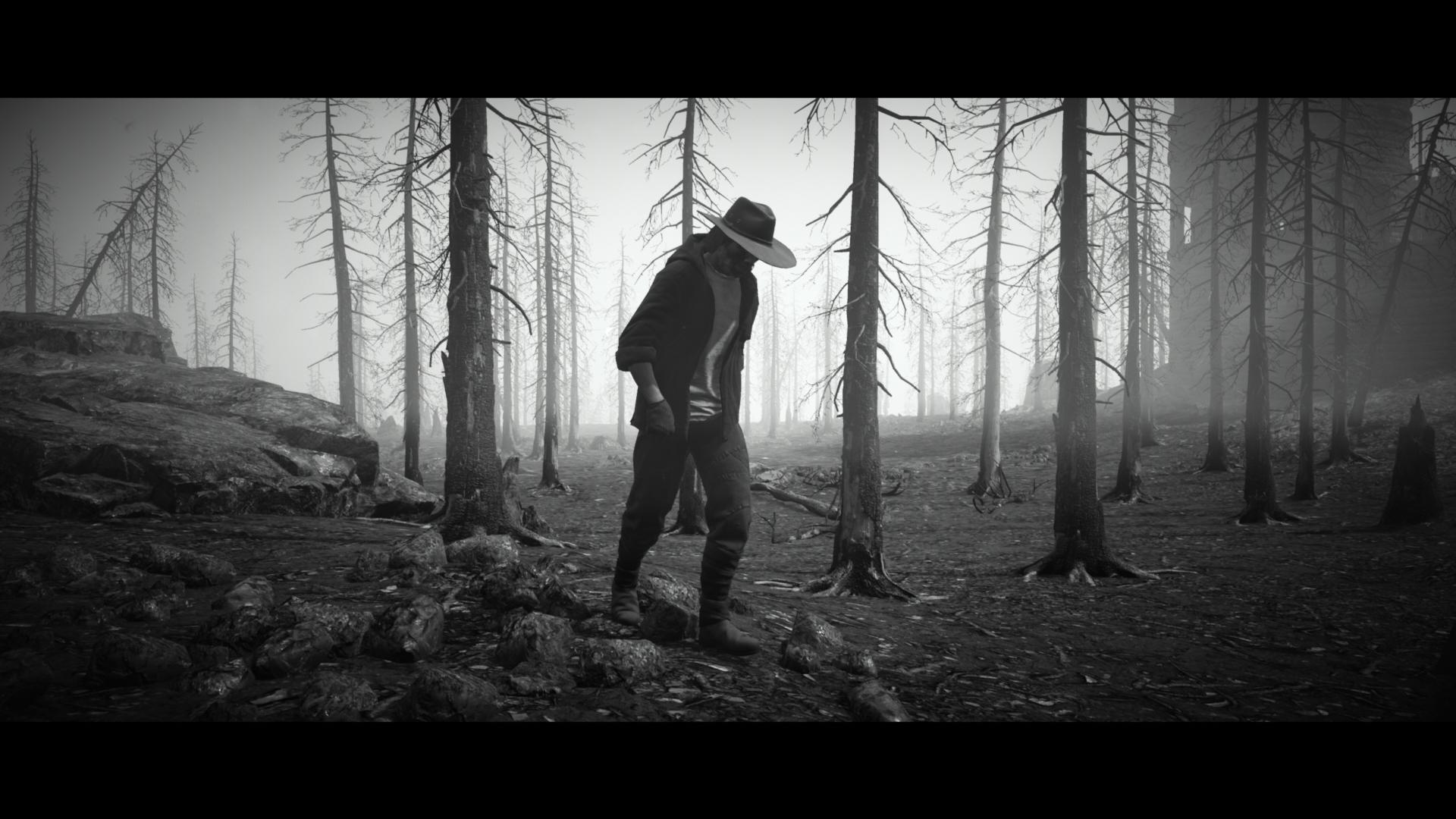 A black and white shot of the player walking forlornly through some burnt out woods.