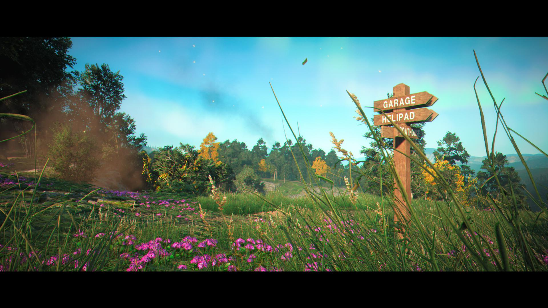 """An in-game screenshot of a field. Purple flowers are dotted throughout grasslands. The sky is blue and a sign reads """"garage"""" and """"helipad"""""""