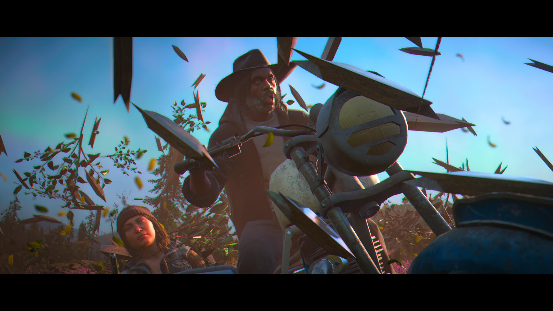 It's the player bursting through a fence on a motorbike