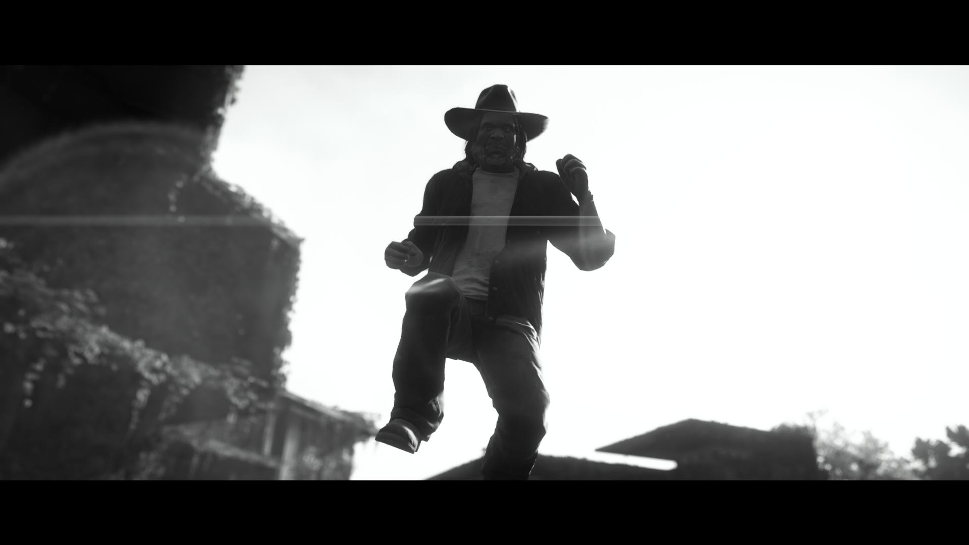 A black and white picture from Far Cry: New Dawn. It's the player caught mid dance.