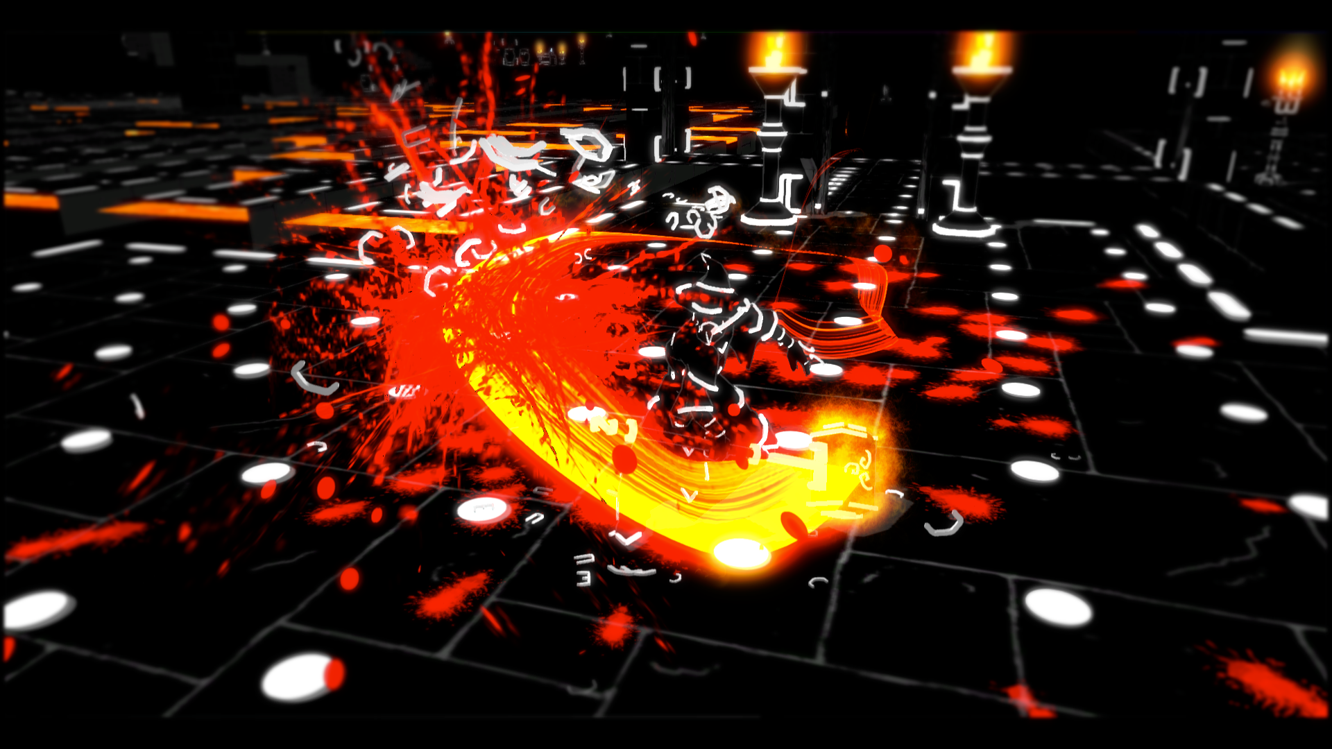 A screenshot from the game Brutal. It's a smear of glow and bloodspats on a black and white dungeon designed to mimic a text interface, but 3d.