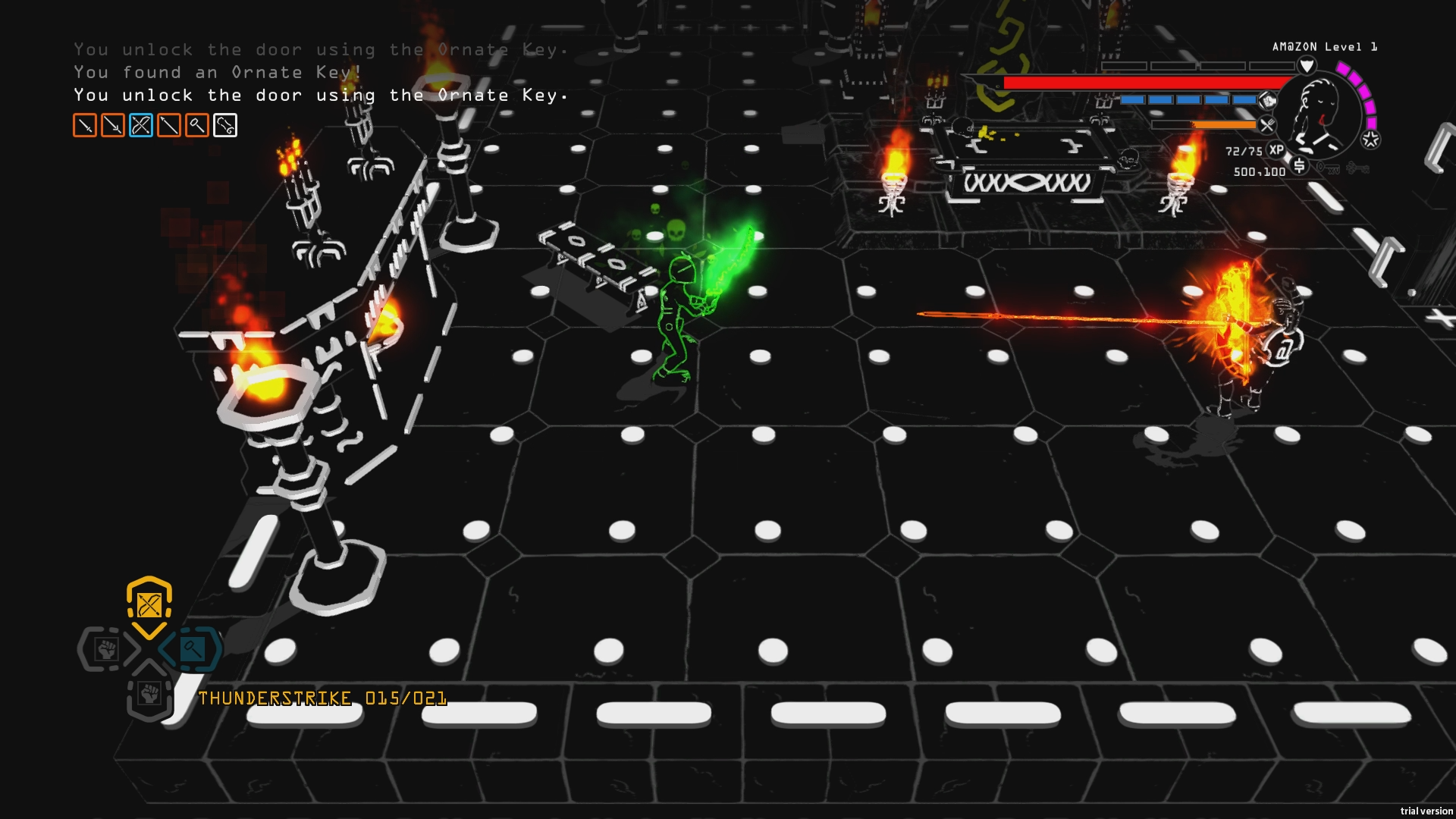 A screenshot from the game Brutal. It's difficult to make out what is going on as it's a game that works better in motion but essentially, it's a bit of a fight going on in a 3d dungeon room.