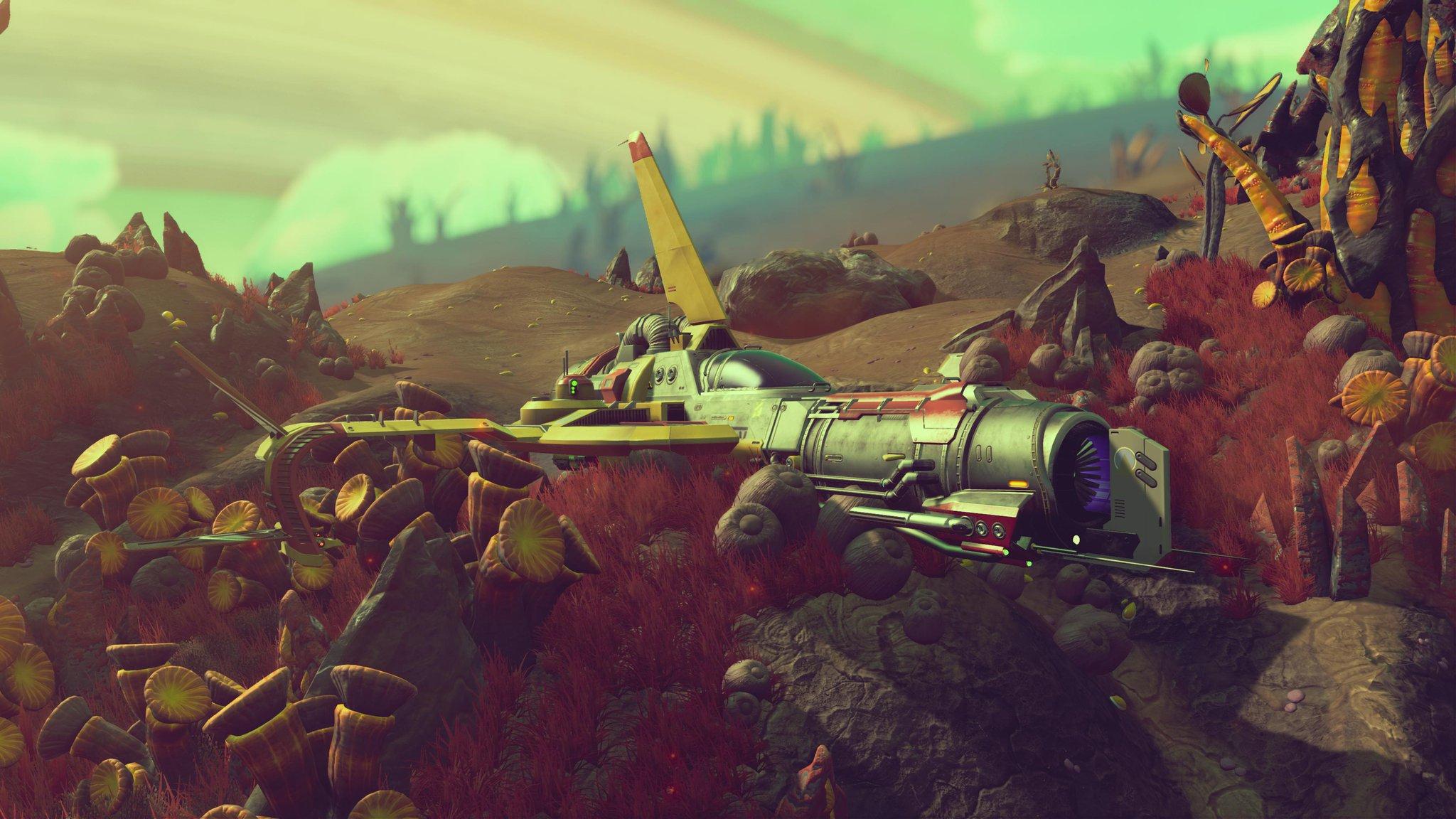 A spaceship nestled amongst alien flora