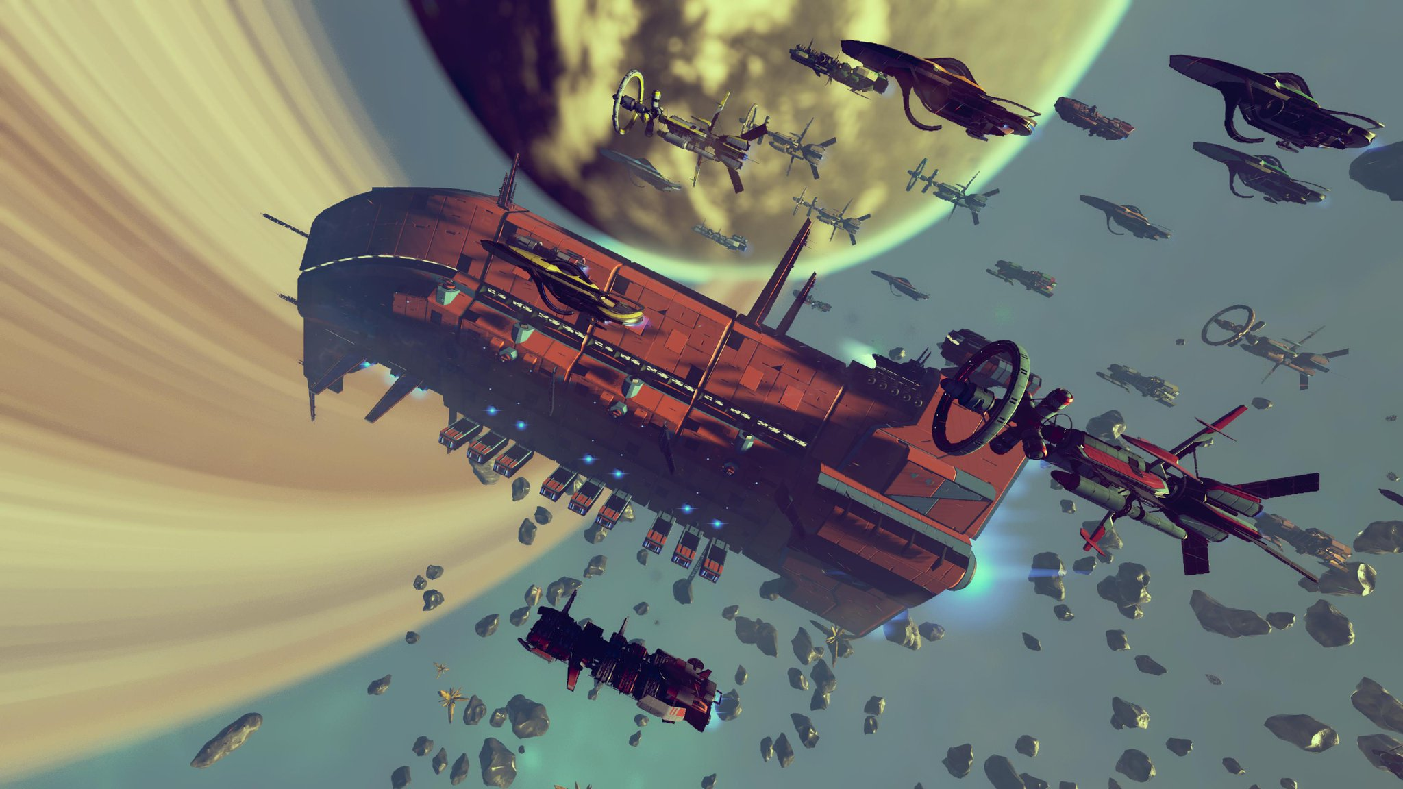 A fleet of capital ships and freighters in orbit around a ringed alien world