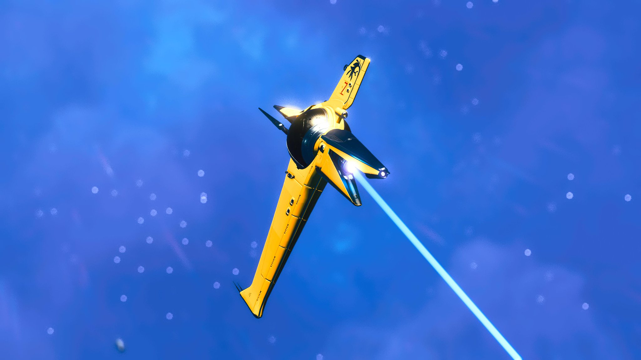 """A yellow """"royal"""" spaceship in space, like a sleek space duck from beyond the stars."""