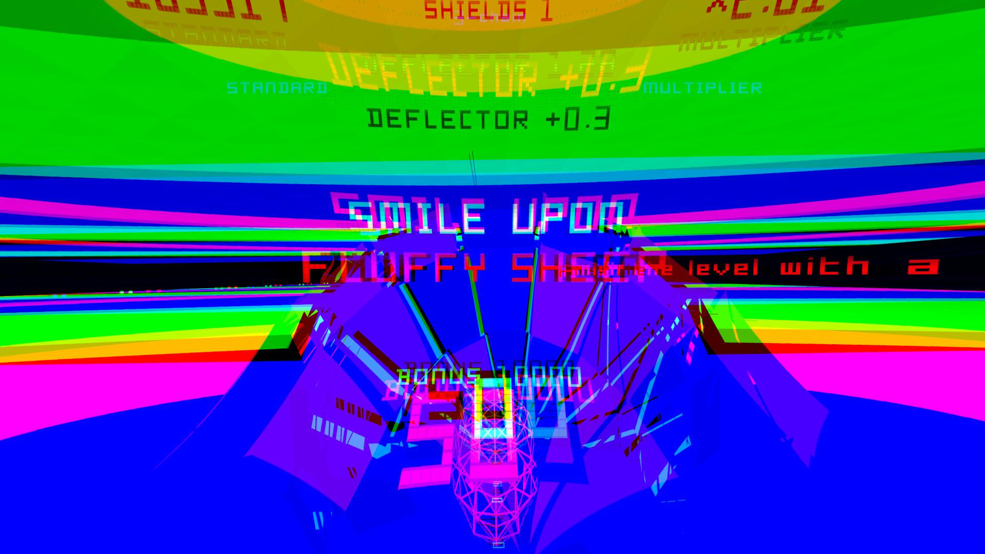 """A screen from Polybius bearing the words """"smile upon fluffy sheepy"""". It is an explosion of colour beyond that."""
