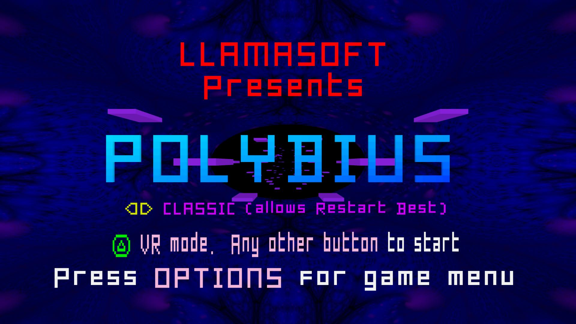 The title screen to Polybius. It's full of stars.