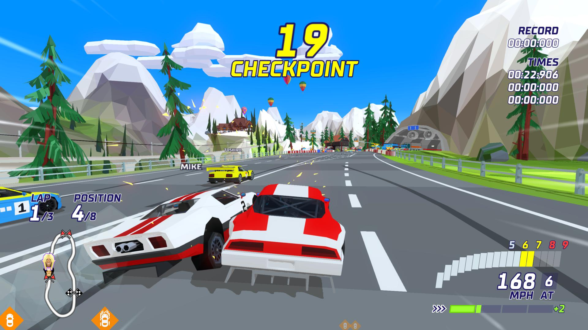 Sega blue skies and low poly cars in Hotshot Racing. Two cars are in a tussle during a race.