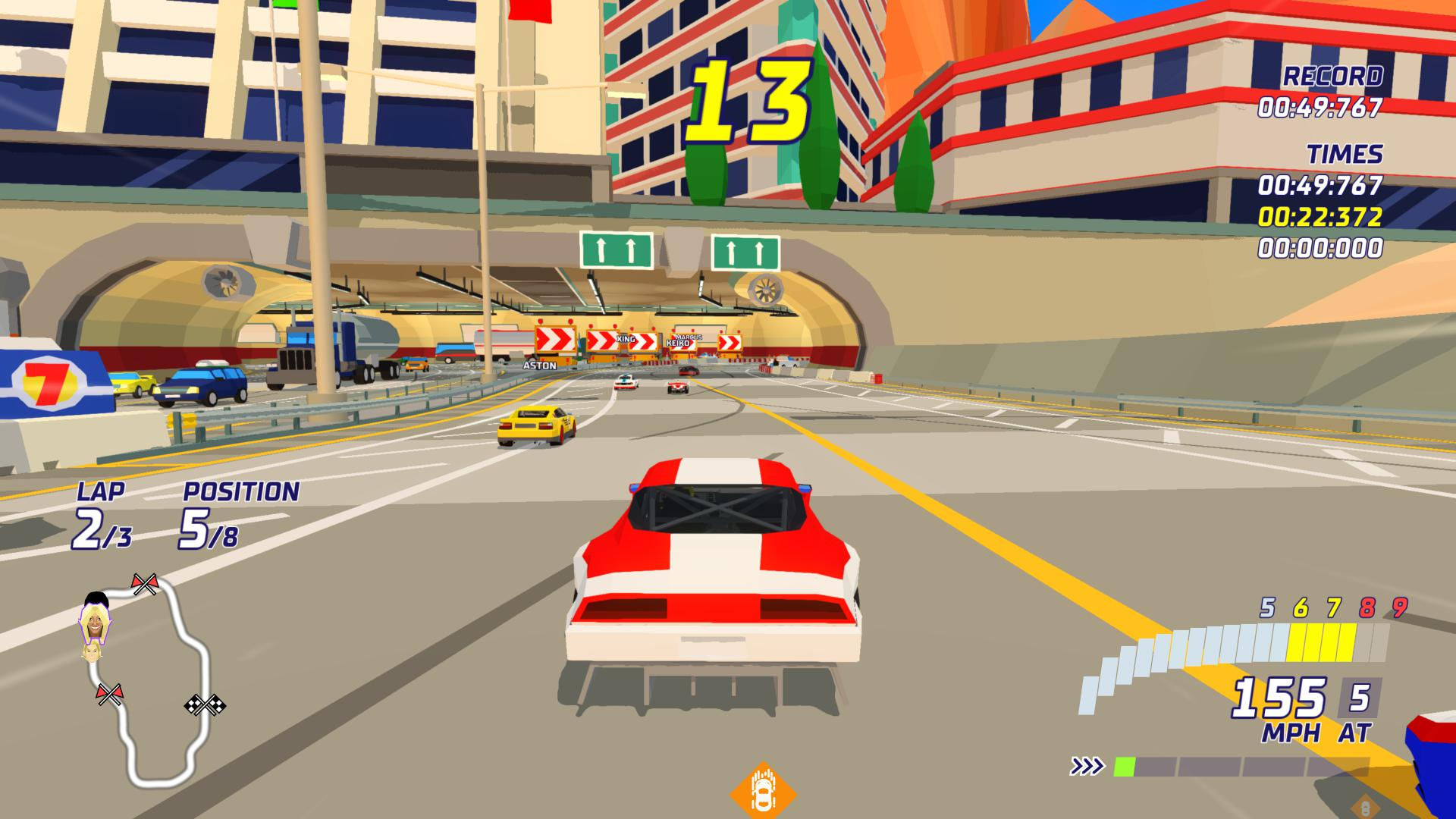 A low poly car going fast down a low poly road. It's beige.