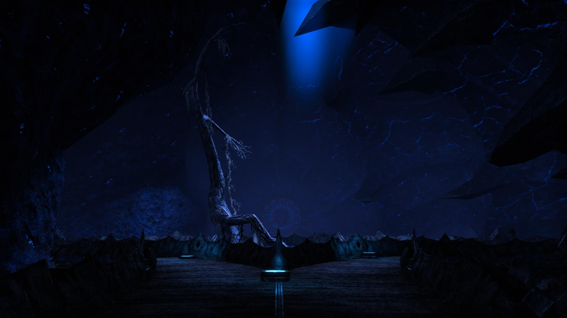 A spoopy cavern that's remarkably blue.