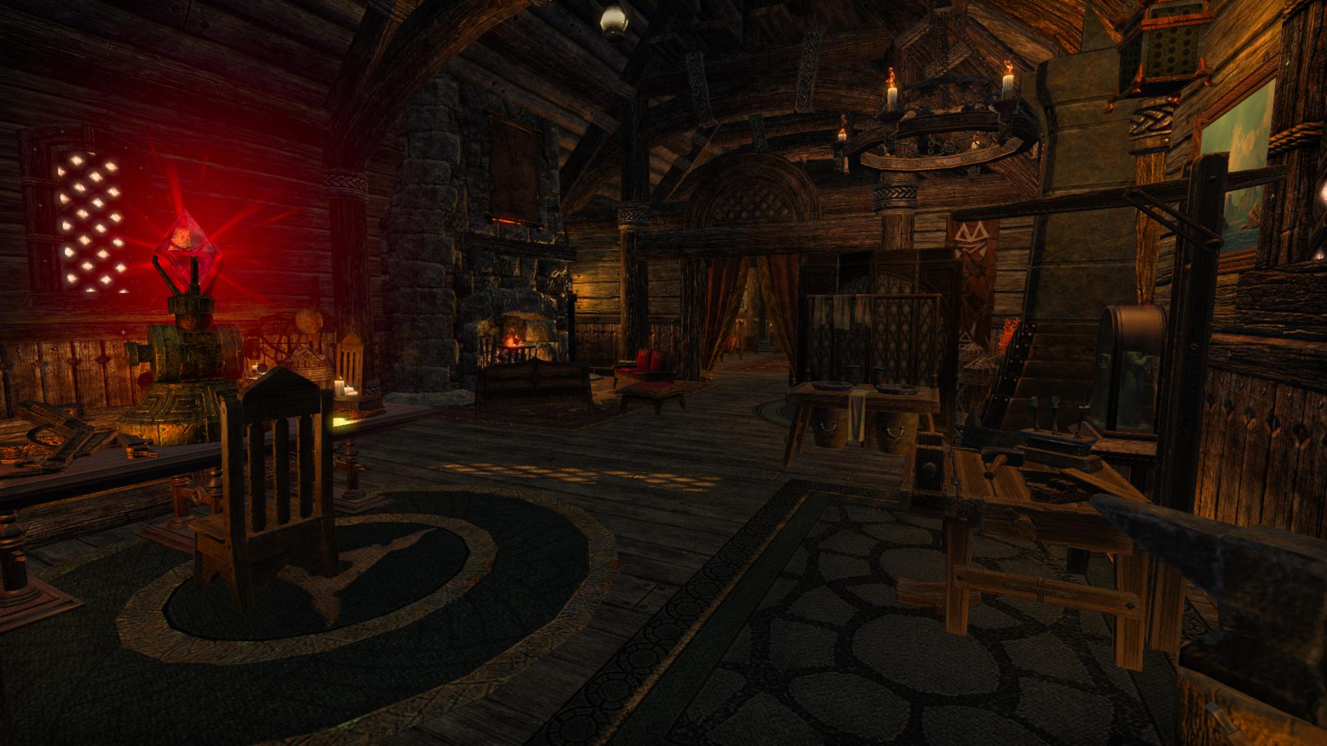 One of my houses in the game. It's a wooden building with lots of wooden furniture, a fireplace and a curious glowing device on a table.