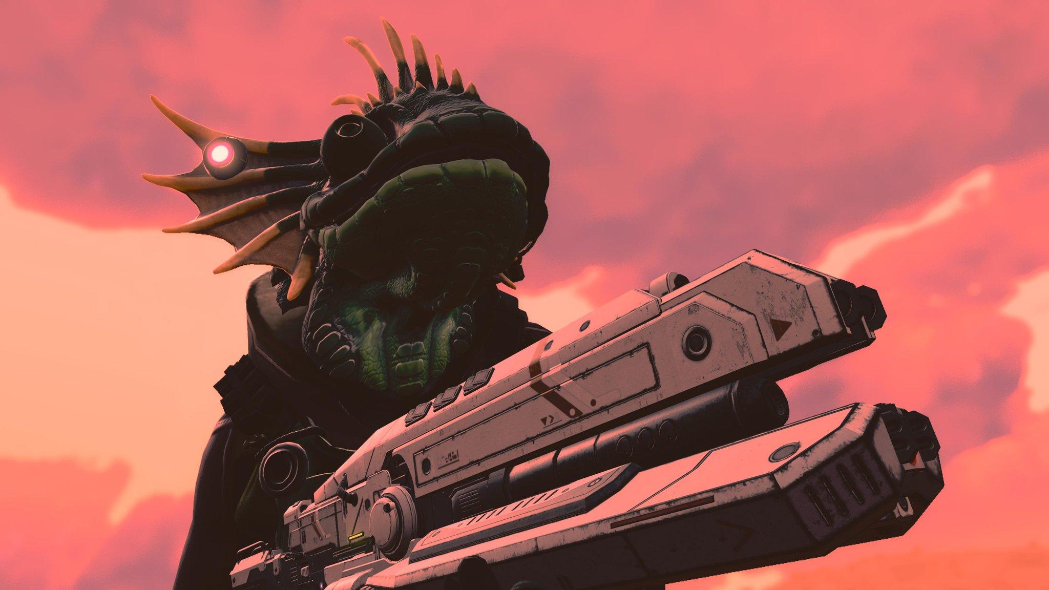 A lizard chum wielding a laser blaster against a dirty pink sky.