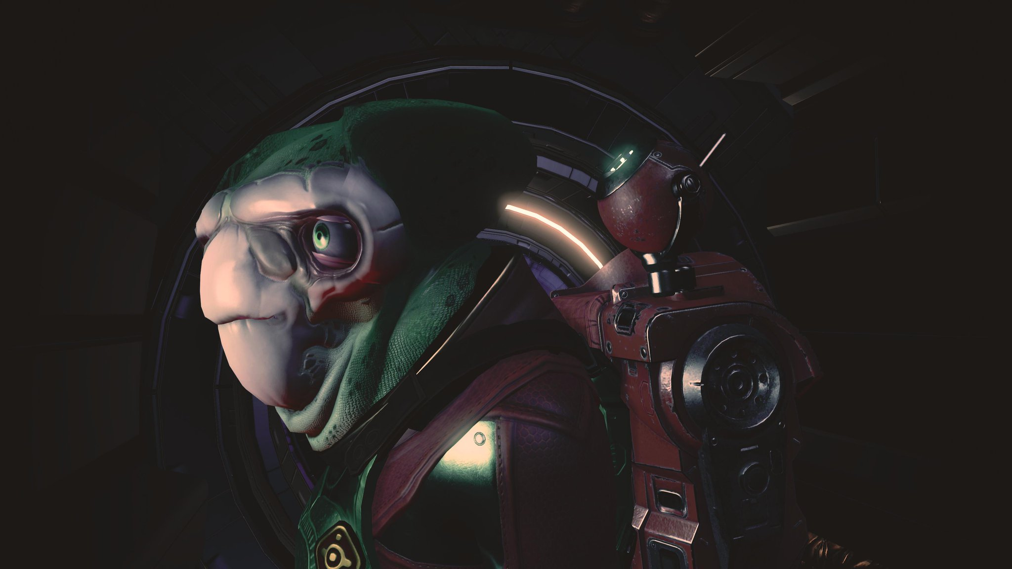 A side on picture of an alien traveller, green with a white patch, boggly eyes and a thoughtful expression.