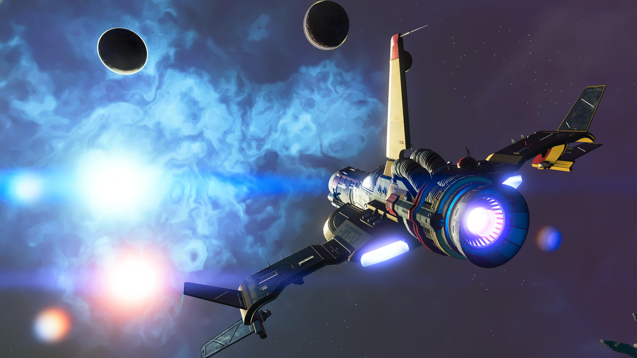 A binary star system, a spaceship flying through space towards a nebula and two planets.