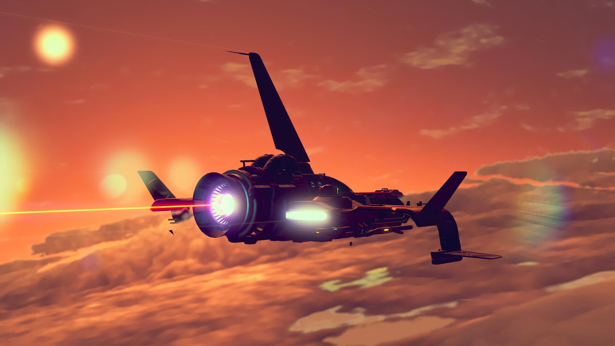 A fighter ship flies through some clouds, multiple suns and planets hang in the background.