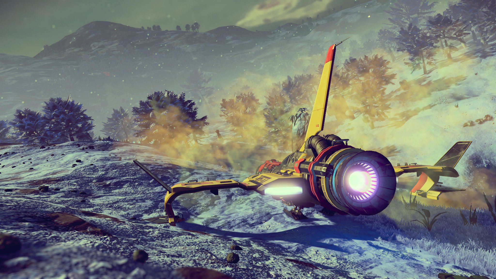 A cold planet, a yellow spaceship parked in the foreground.