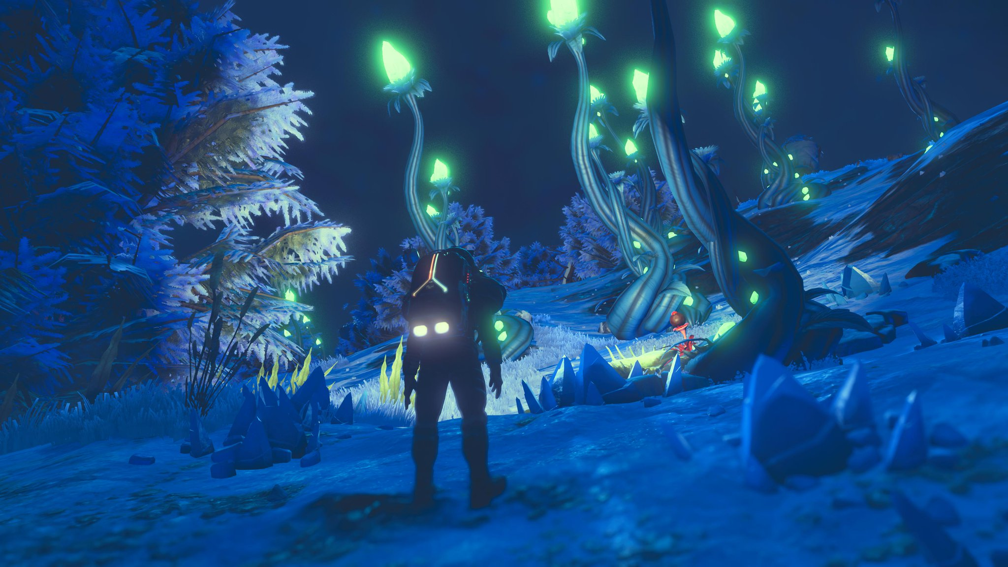 The astronaut on a frozen planet. Crystals dot the ground and pants with glowing tips stretch into the sky.