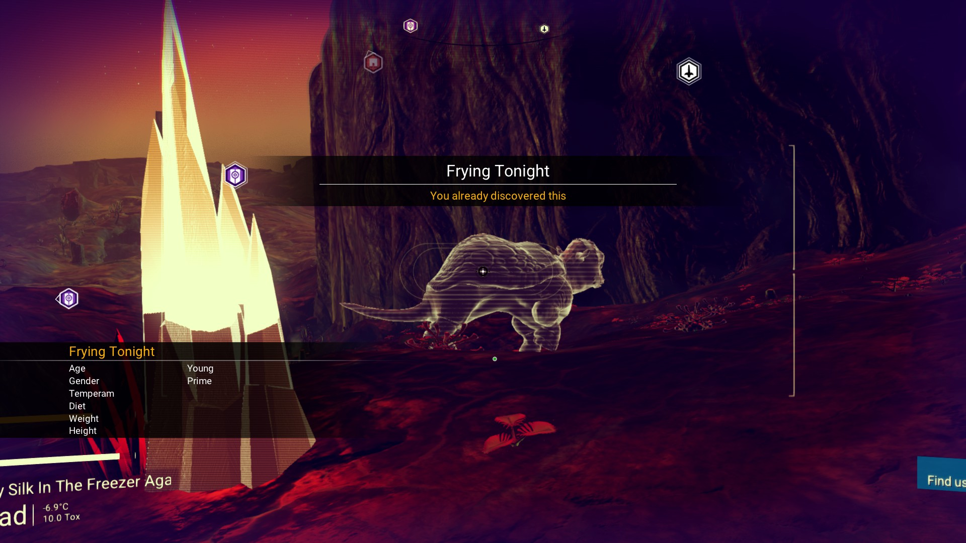 """An earlier version of No Man's Sky, mid scan. A quadrupedal animal is labelled """"Frying Tonight"""""""
