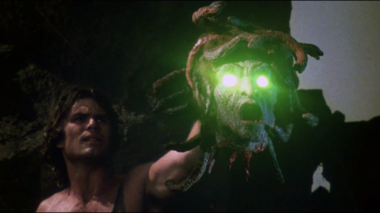 Perseus holding the decapitated head of Medusa. It's from the 1980's Clash Of The Titans film.