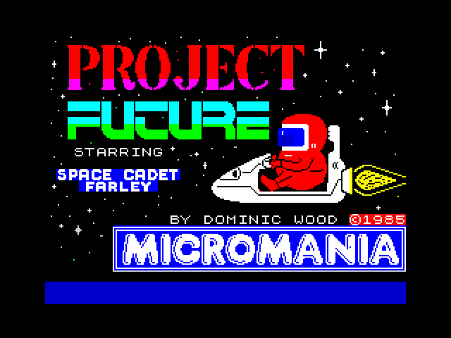 The loading screen for Project Future on the ZX Spectrum. It is a red bubble of an astronaut in a little space scooter jetting through space. There's also credits and a logo.