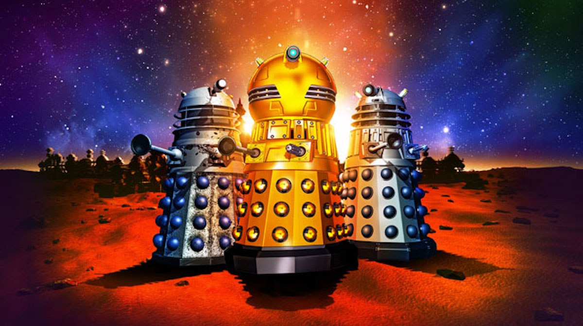 A promo picture for the Daleks animated series. There are multiple Daleks with a golden Dalek Emperor taking centre stage.