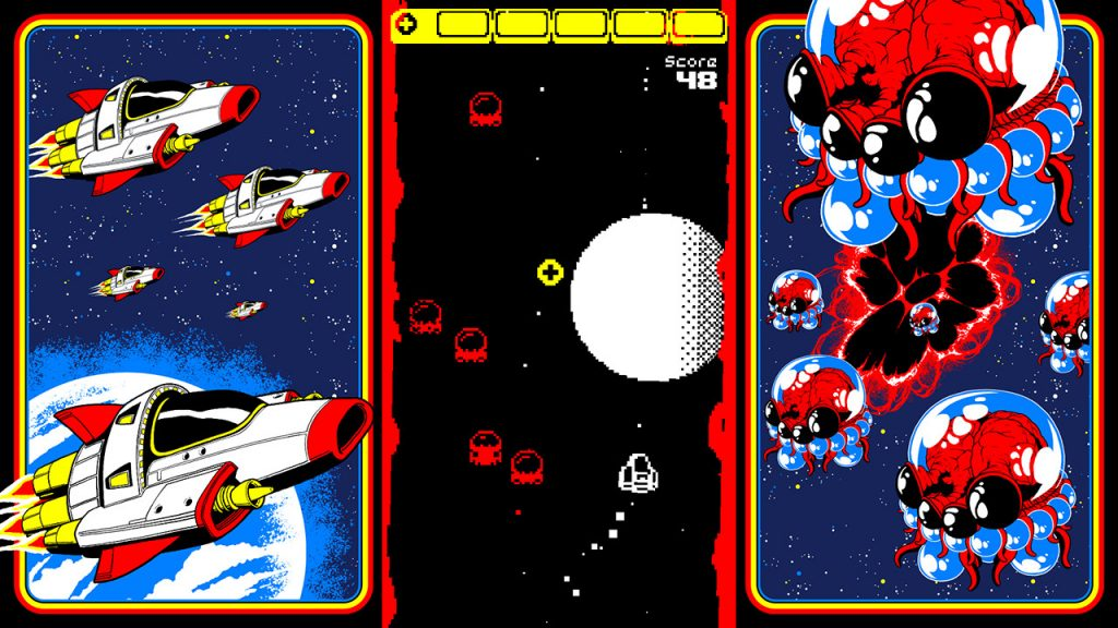 A screenshot from the game Switch n Shoot. It's an arcade game stationed in the centre of the screen. To its left, some wonderful spaceship designs. To its right, aliens.