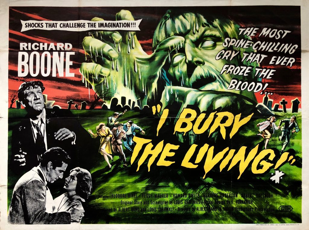 The poster art for the film I Bury The Living starring Richard Boone