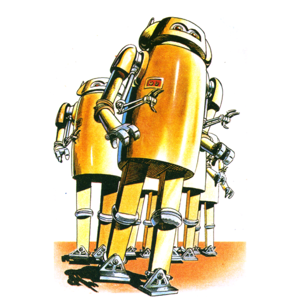 Some yellow/gold robots. They are tall but simple as though easily rendered in tin like you robots. They're bipedal but have 4 arms, 2 of which are grabbing claws.