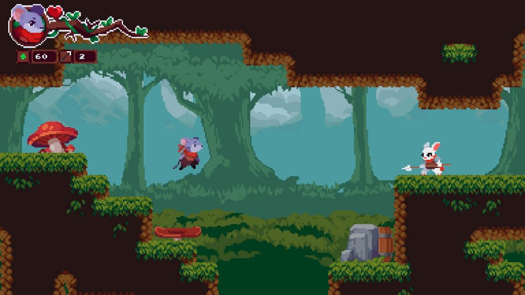 A forest scene from Micetopia. A mouse leaps from a platform in the woods, a rabbit with a spear waits across the other side of the room.