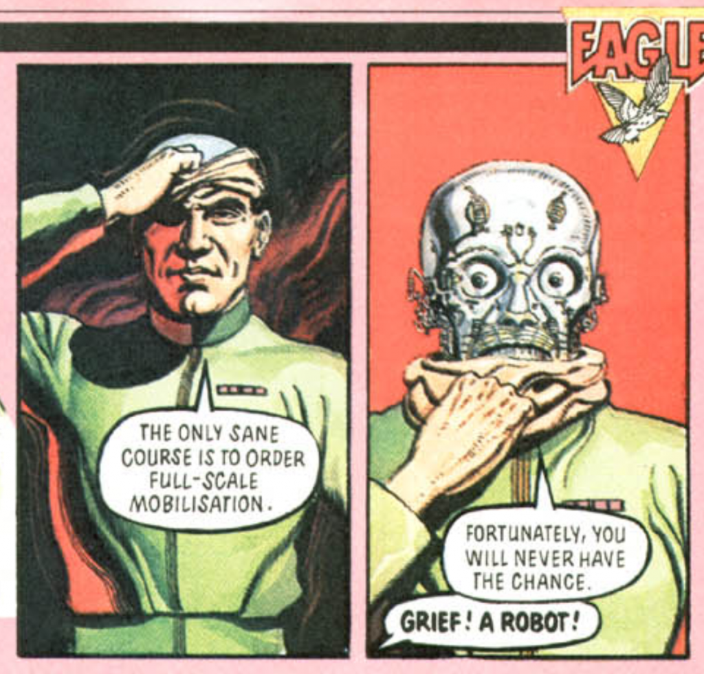 """Two panels drawn by Gerry Embleton from the eighties reboot of The Eagle comic. Both panels involve a humanoid figure """"peeling"""" their face off to reveal a robot underneath."""