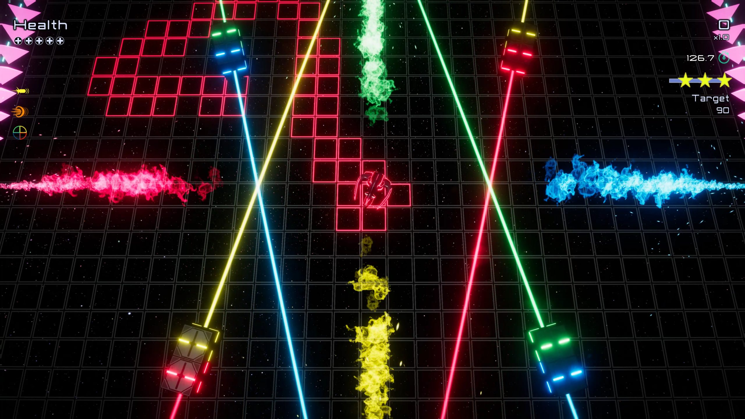 It's Funtime. Still neon stuff, there's some colourful lasers stretching across the screen this time.