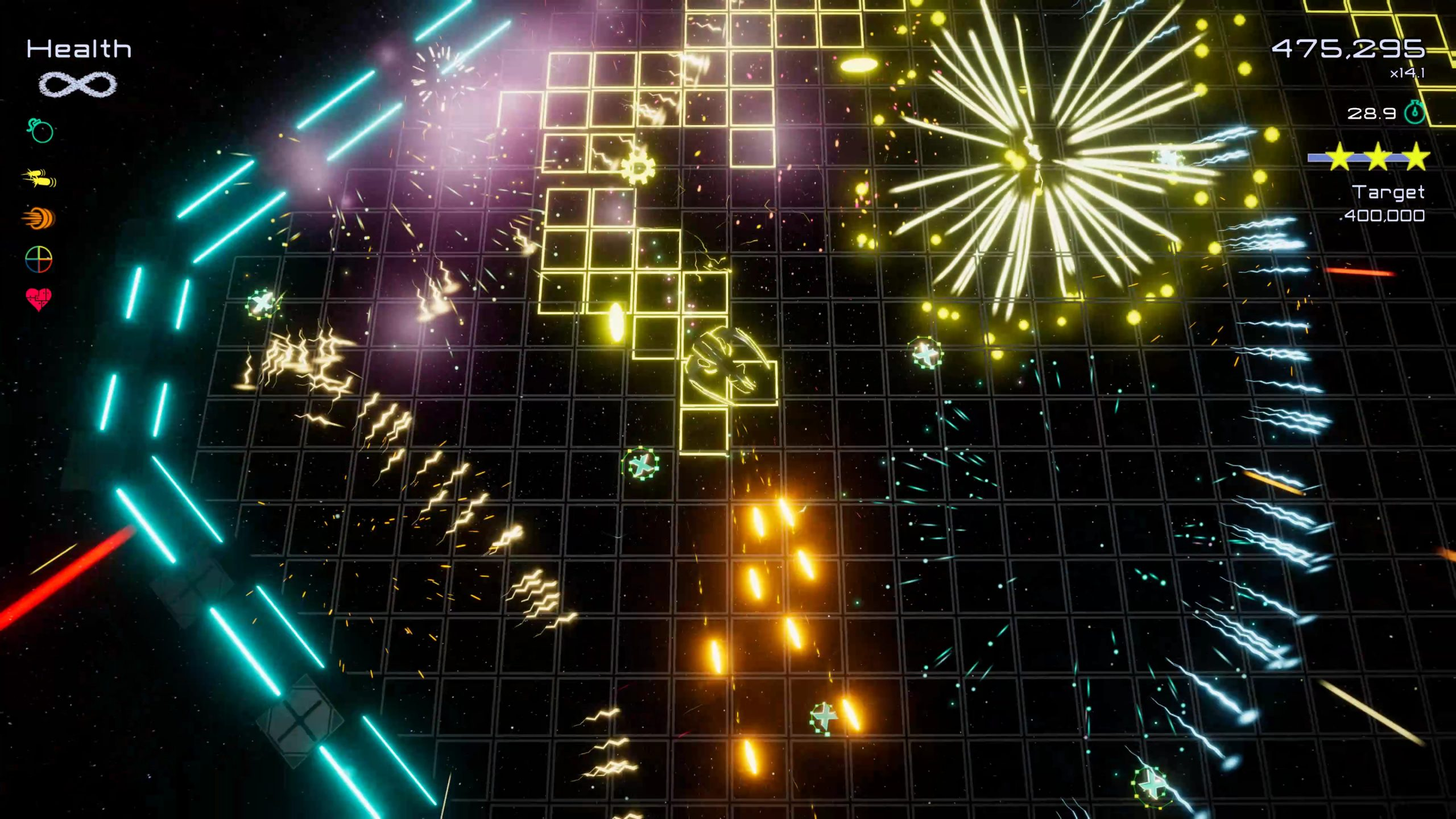 It's Funtime again, very yellow this time as the player paints a grid yellow, yellow explosions are going off and there's orange bullets which is nearly yellow if anyone asks.