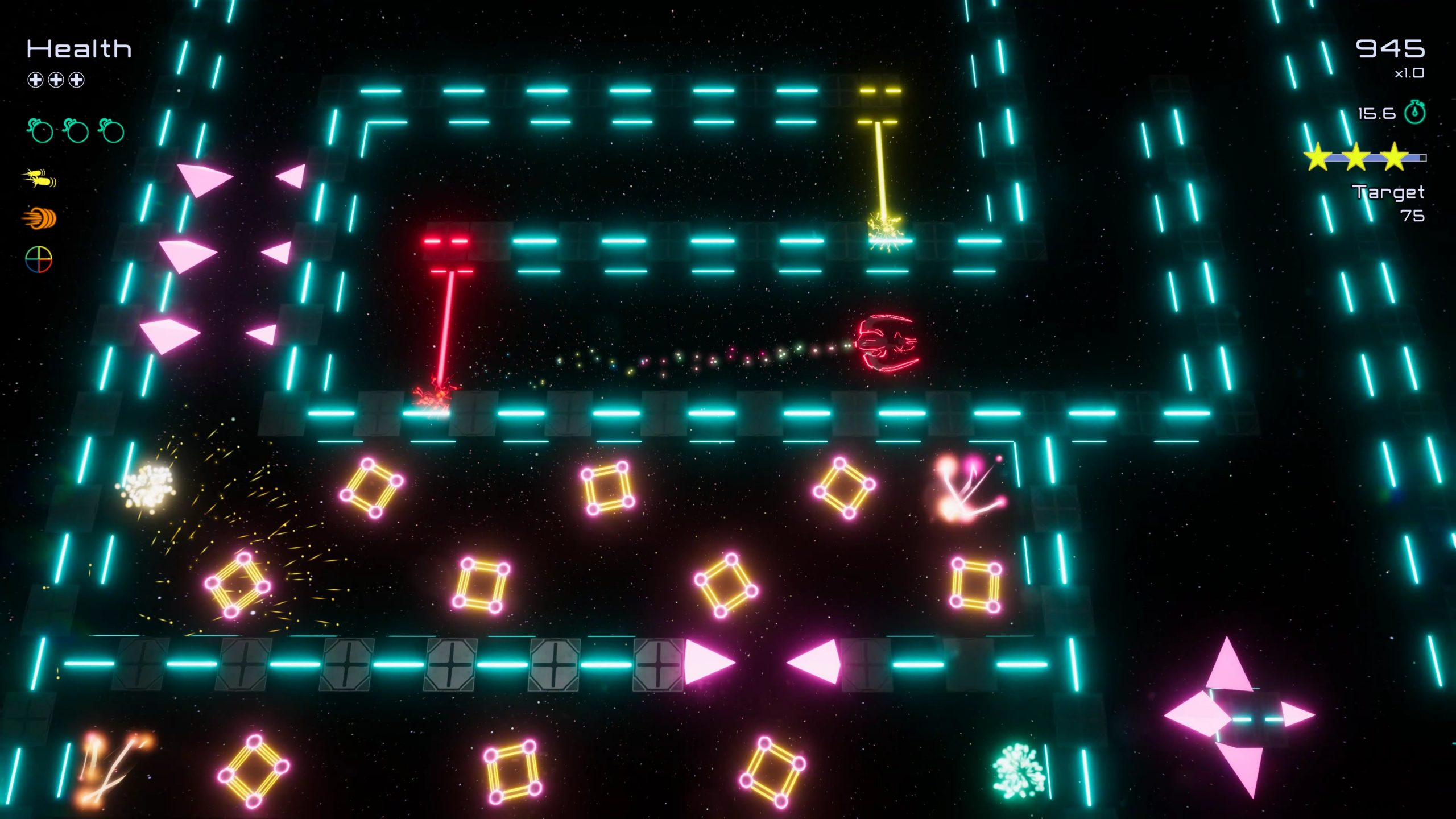 A screenshot from the game Funtime. It is a neon lit maze in space, there's pink spikes, yellow squares and red and yellow barriers as obstacles. A red spaceship is trying to escape.