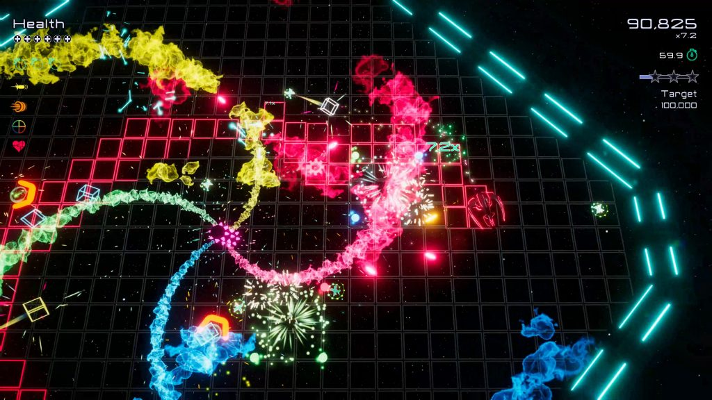 A screenshot from the game Funtime. It's over on the right side of a glowing arena, an enemy sprays colourful particles whilst a bunch of other colourful enemies accumulate ready to give the player a hard time.