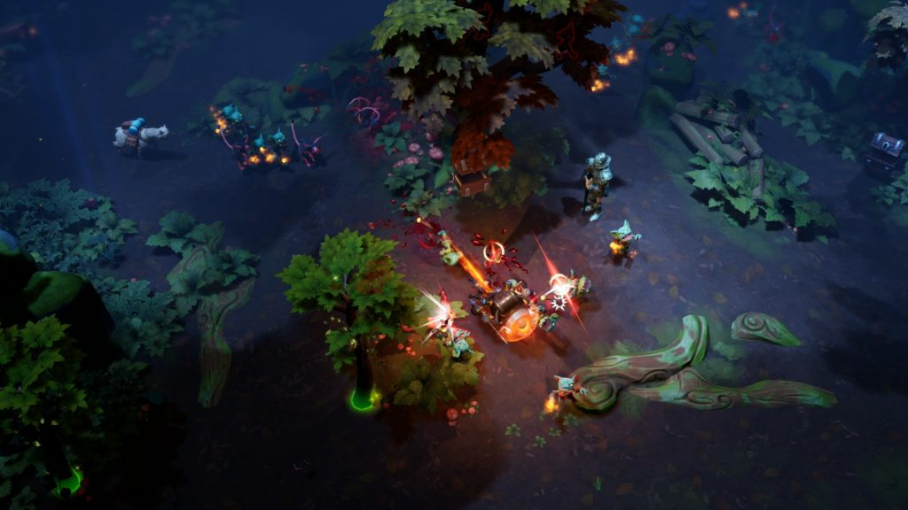 A screenshot from the game Torchlight III. It's a top down view of a forest with some sort of fight happening in one spot.