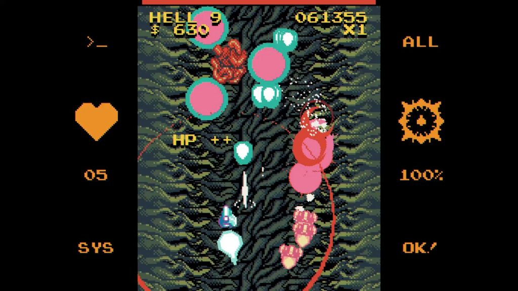 A screenshot from Void Gore. The player is flying through some tentacles whilst things explode around them.