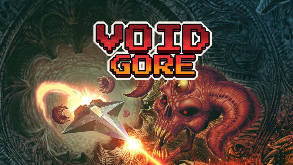 It's the key art to Void Gore. A crystalline spaceship flies into a Giger-esque landscape past a sinister skull demon with glowing red eyes. It's very metal.