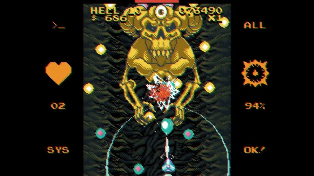 A screenshot from void Gore. A giant yellow skeletal demon shoots bullets all over the place whilst a spaceship tries to take it down.