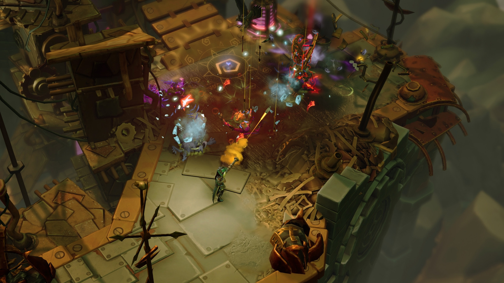 It's a screenshot from Torchlight III, it's a manky metal dungeon with a steampunk brown and off green/grey look. It's not very complimentary but there is a big fight going on so not all is lost.