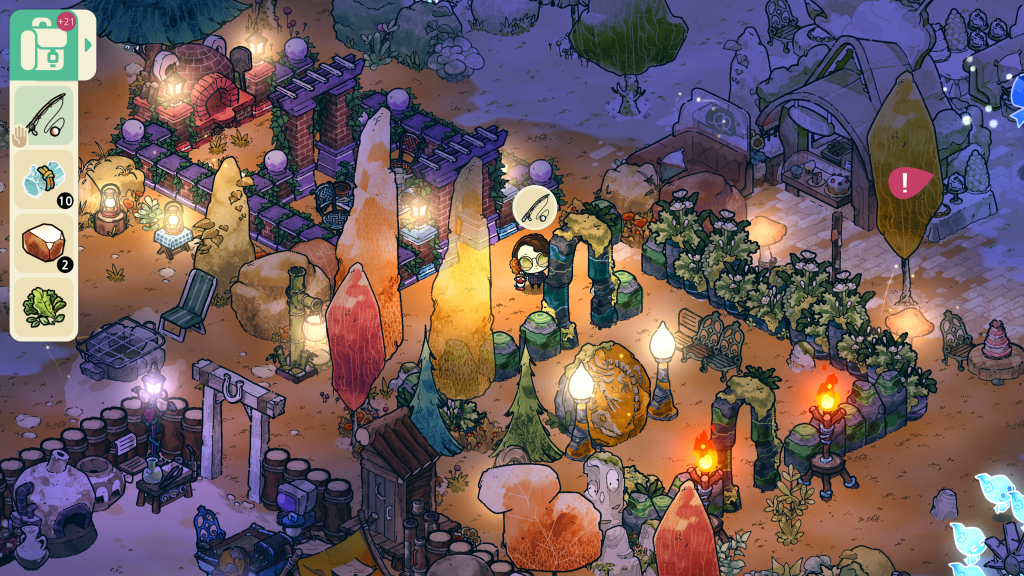 It's a screenshot from Cozy Grove. It's night time and the grove is lit by an abundance of lights.Deck chairs, shrubbery and more surround the player.