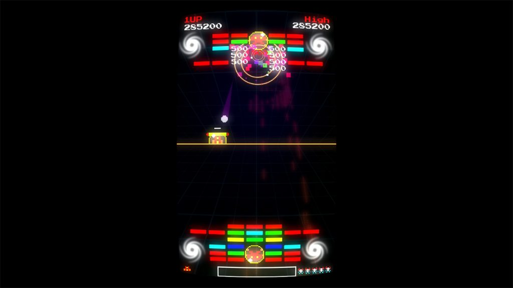 It's a screenshot from Horizon Shift 81. There's a sort of Breakout theme to this one with coloured bricks at the top and bottom of the screen. The player is, once again, riding a line across the middle of the screen.